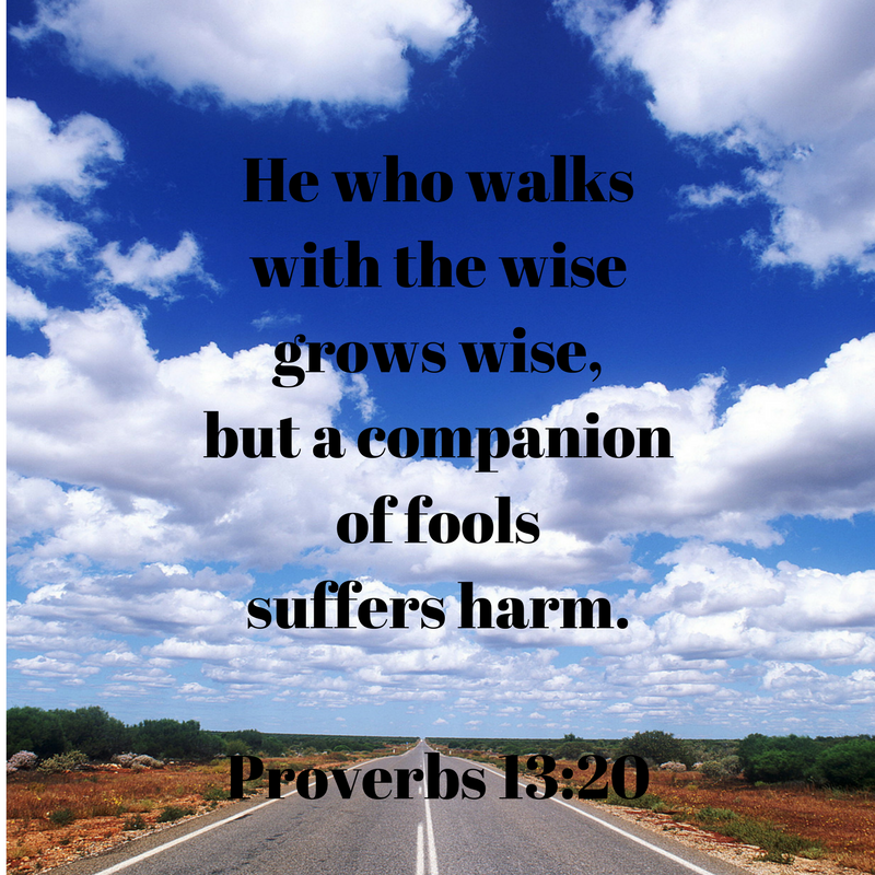 He who walkswith the wisegrows wise,but a companionof foolssuffers harm.Proverbs 13-20