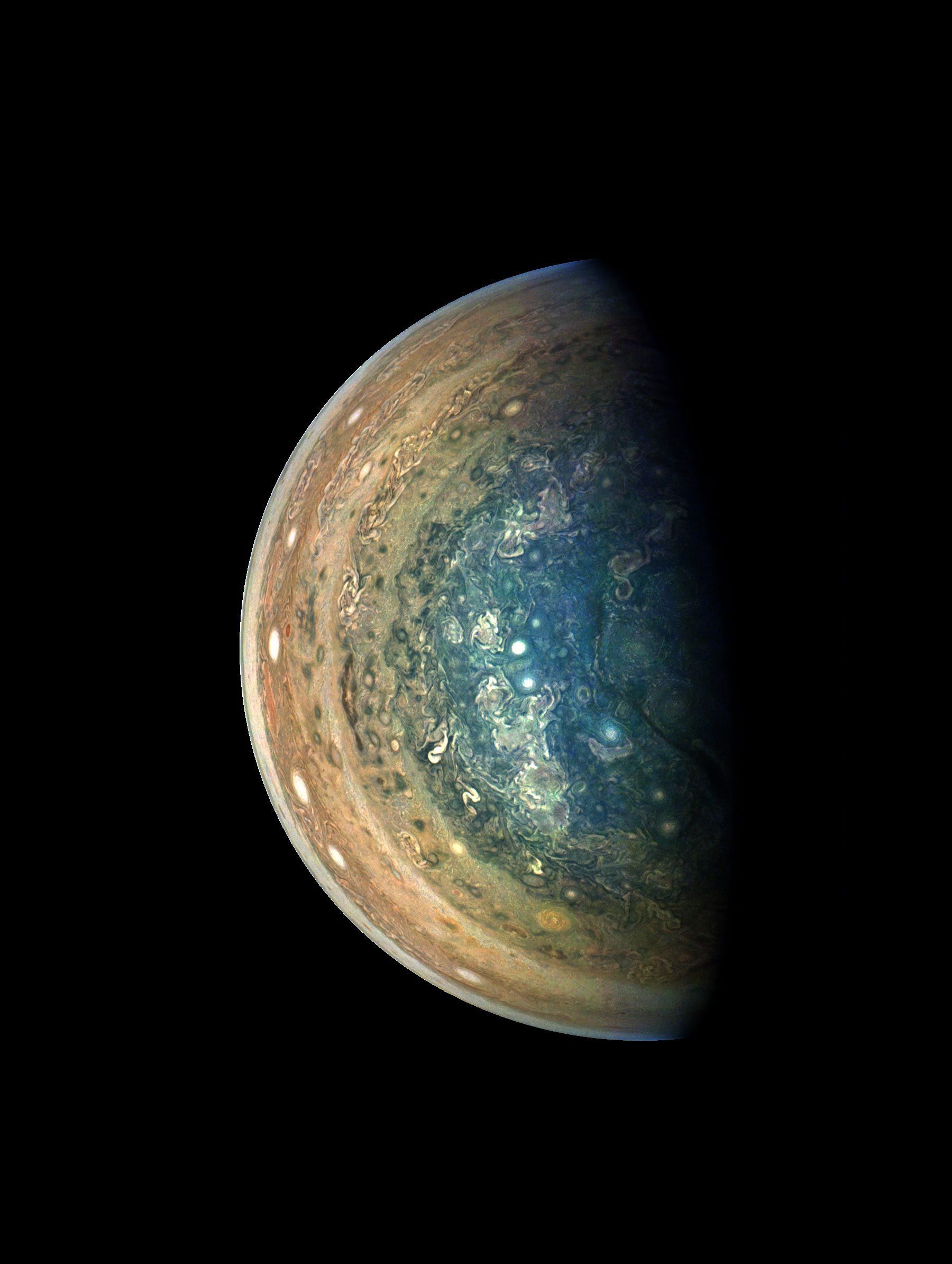jupiter swirling south pole