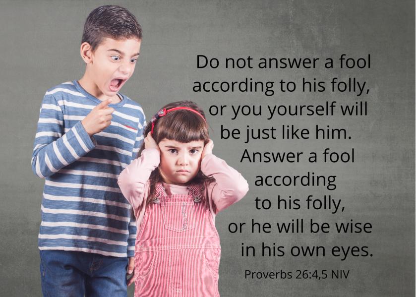 Proverbs 26 4 5 NIV