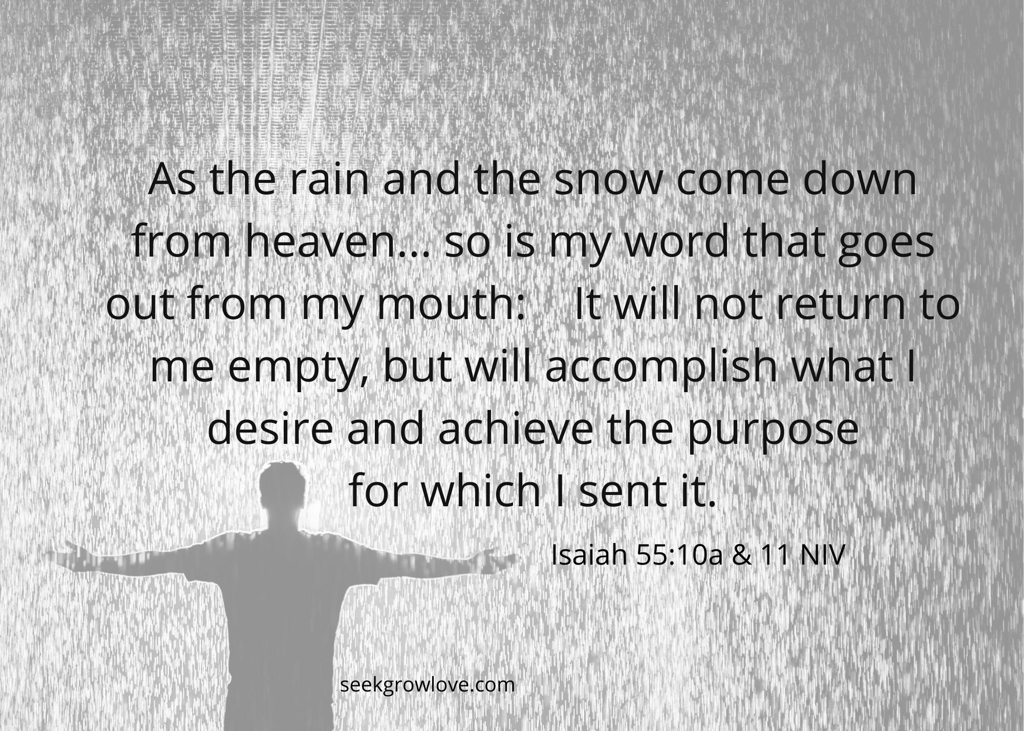 Isaiah 55 10a 11 NIV sgl