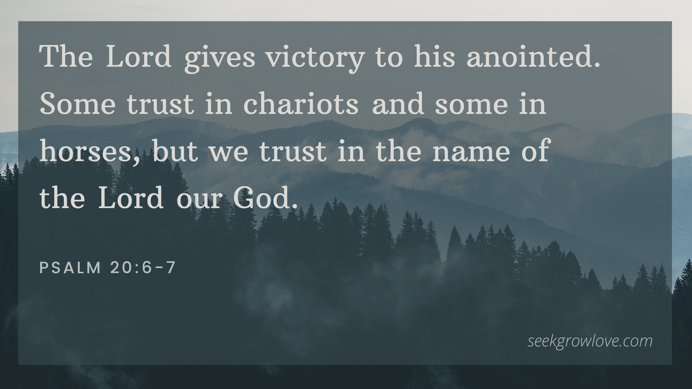 The Lord gives victory to his anointed. Some trust in chariots and some in horses, but we trust in the name of the Lord our God.